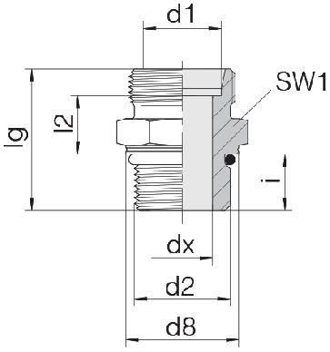 Соединение для труб штуцерное прямое коническое 24-SDS-L10-M12F