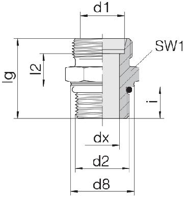 Соединение для труб штуцерное прямое коническое 24-SDS-S6-M12F