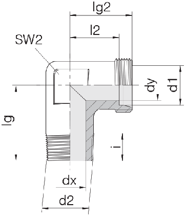 Соединение для труб штуцерное угловое 24-SDE-L10-R1/2T