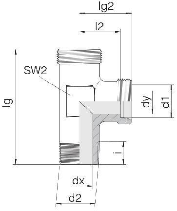 Соединение для труб штуцерное тройник 24-SDL-L15-M18T