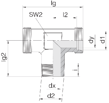 Соединение для труб штуцерное тройник 24-SDT-L8-M12T-P