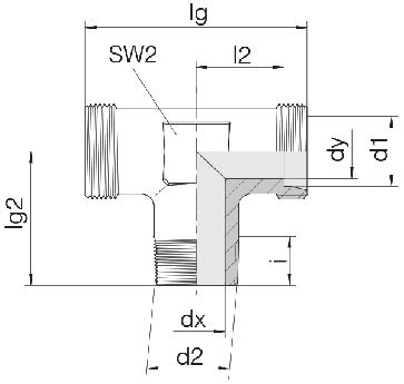Соединение для труб штуцерное тройник 24-SDT-L8-R1/4T-P