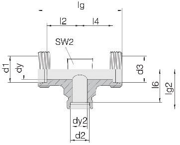 Соединение для труб проходное тройник 24-T-L10-L15-L10