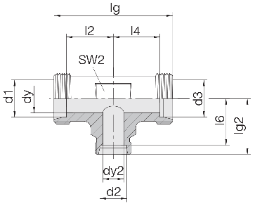 Соединение для труб проходное тройник 24-T-L15-L22-L15