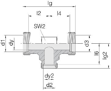 Соединение для труб проходное тройник 24-T-S10-S6-S10-P