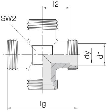 Соединение для труб проходное крестовое 24-K-S10