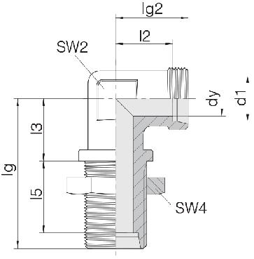 Соединение для труб переборочное угловое 24-BHELN-L8
