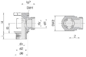Соединение для труб поворотное угловое 24-BSE-L12-M18B