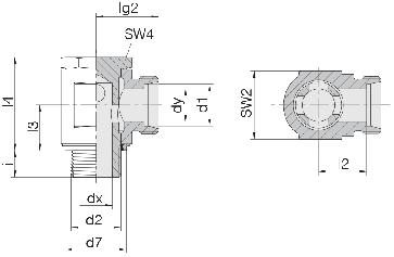 Соединение для труб поворотное угловое 24-BSE-L12-M16E