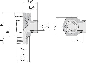 Соединение для труб поворотное угловое с эксцентриком 24-BEE-S12-M18B