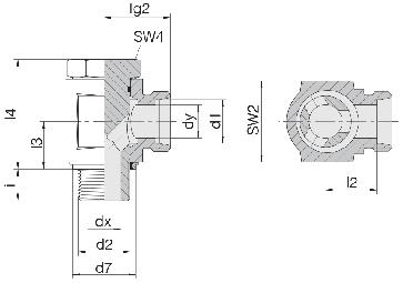 Соединение для труб поворотное угловое с эксцентриком 24-BEE-L12-G3/8E