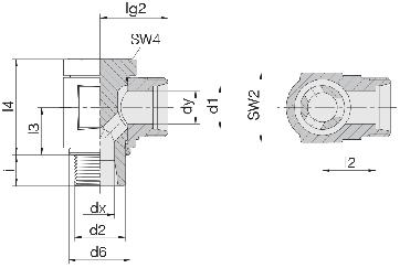 Соединение для труб поворотное угловое 24-BCE-S10-M16B