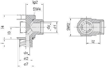Соединение для труб поворотное угловое 24-BCE-L6-M10E