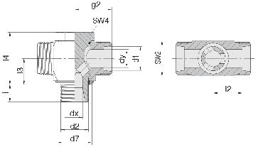 Соединение для труб поворотное Т-образное 24-BCT-L12-M16E-P