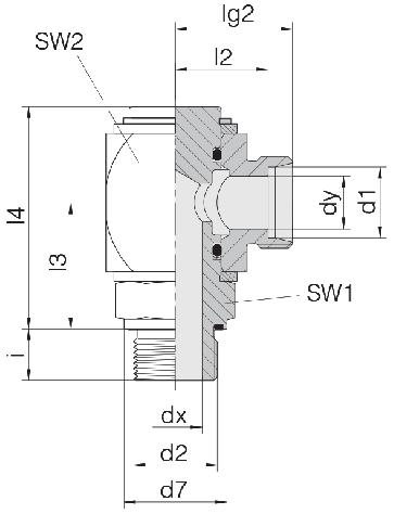 Соединение для труб поворотное угловое 24-RCE-S8-M14E-C10
