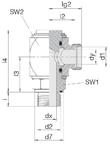 Соединение для труб поворотное угловое угловое 24-RCE-L12-G3/8E-C10