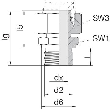 Соединение для труб штуцерное прямое с гайкой 24-SWSDS-S10-M16B