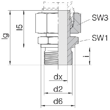 Соединение для труб штуцерное прямое с гайкой 24-SWSDS-S14-G1/2B