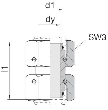 Соединение для труб проходное прямое с двумя гайками 24-SW2OS-L6-CP2