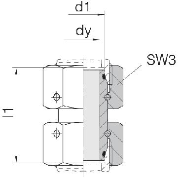 Соединение для труб проходное прямое с двумя гайками 24-SW2OS-S12-CP2