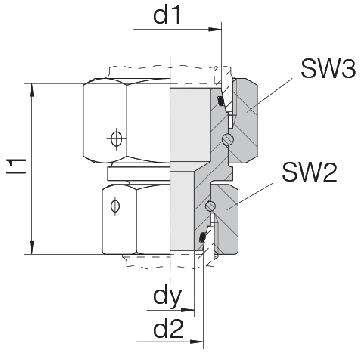 Соединение для труб переходное прямое с двумя гайками 24-SW2OS-L8-S8-CP1