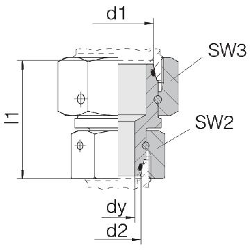 Соединение для труб переходное прямое с двумя гайками 24-SW2OS-S30-S16-CP1