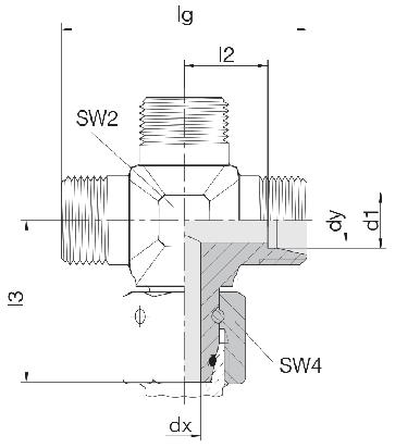 Соединение для труб штуцерное с гайкой крестовое 24-SWOK-L10