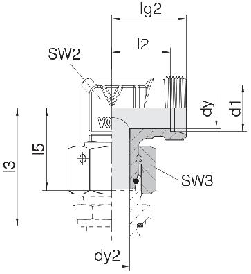 Соединение для труб проходное угловое с гайкой 24-SWOE-L8-P