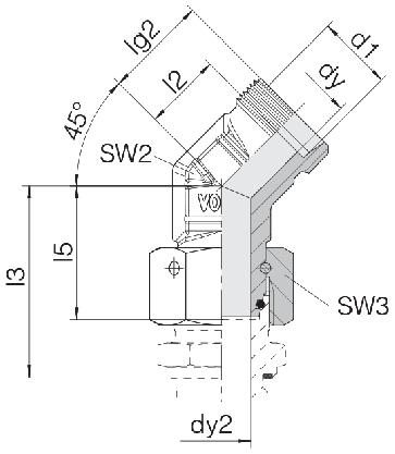 Соединение для труб проходное угловое с гайкой 24-SWOE45-L8