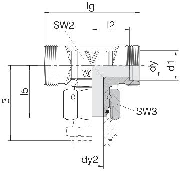 Соединение для труб проходное Т-образное с гайкой  24-SWOT-S14