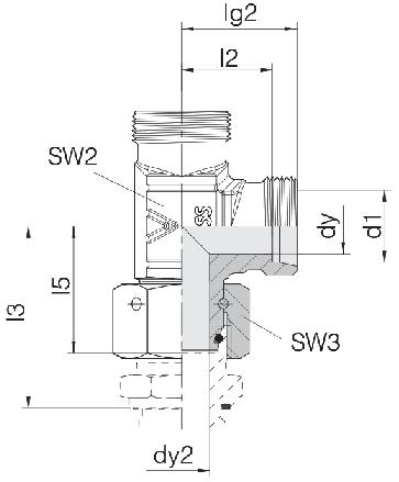 Соединение для труб проходное L-образное с гайкой  24-SWOL-S12