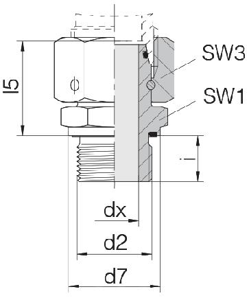 Соединение для труб штуцерное прямое с кримпованной гайкой 24-SWOSDS-L12-M16E