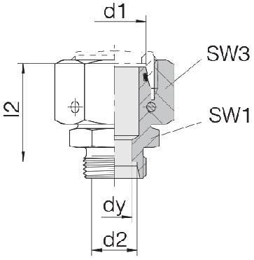 Соединение для труб переходное прямое с кримпованной гайкой 24-SWOS-L28-S20