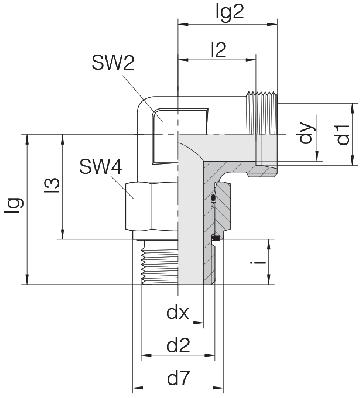 Соединение для труб регулируемое угловое с контргайкой 24-SDAE-L10-M18E
