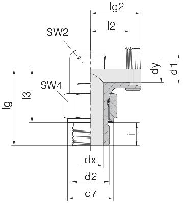 Соединение для труб регулируемое угловое с контргайкой 24-SDAE-S6-G1/4E