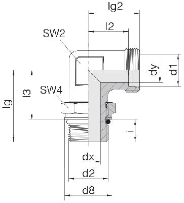 Соединение для труб регулируемое угловое с контргайкой 24-SDAE-L12-M12F