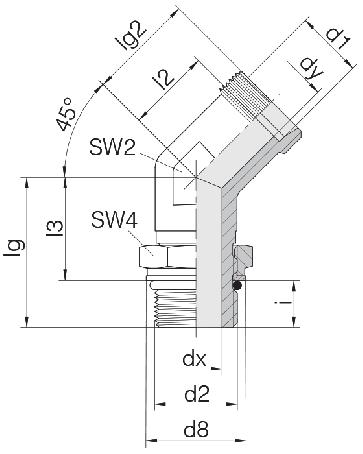 Соединение для труб регулируемое угловое с контргайкой 24-SDAE45-S6-M12F