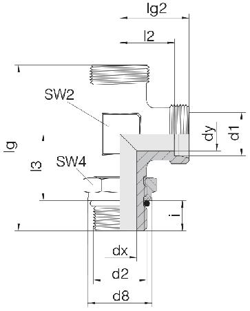 Соединение для труб регулируемое L-образное с контргайкой 24-SDAL-S8-M14F