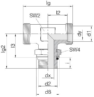 Соединение для труб регулируемое Т-образное с контргайкой 24-SDAT-L10-M14F