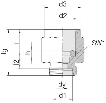 Соединение для манометра резьбовое 24-PGS-L6-IG1/4B