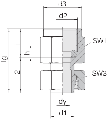 Соединение для манометра резьбовое с гайкой 24-SWPGS-L12-IG1/4B