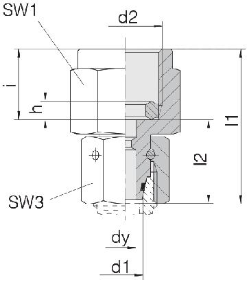 Соединение для манометра с уплонительным кольцом и гайкой 24-SWOPGS-L12-IG1/2B