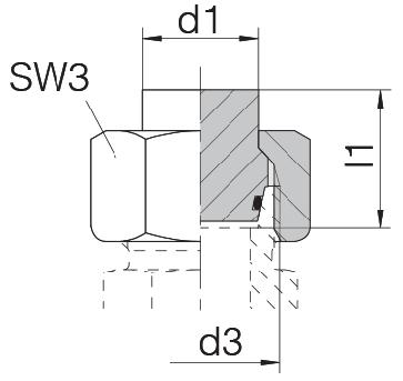 Заглушка на трубу с гайкой и уплотнительным кольцом 24-PLOC-L8