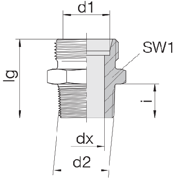 Соединение для труб штуцерное прямое коническое 24-SDS-L12-M16T