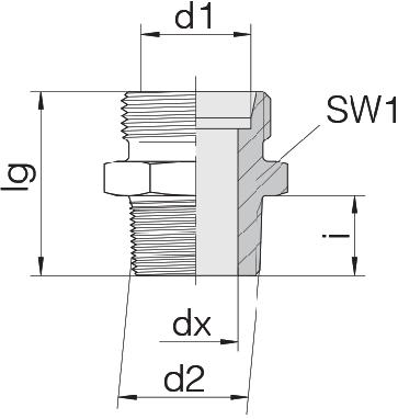 Соединение для труб штуцерное прямое коническое 24-SDS-L12-R3/4T
