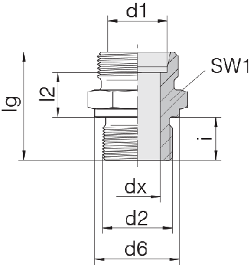 Соединение для труб штуцерное прямое коническое 24-SDS-L8-M18B
