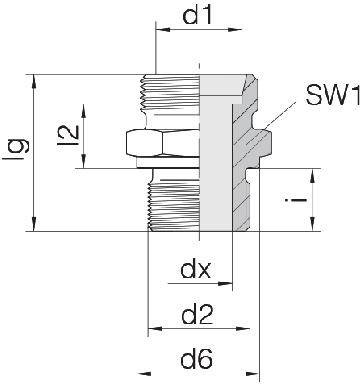 Соединение для труб штуцерное прямое коническое 24-SDS-L18-M22B