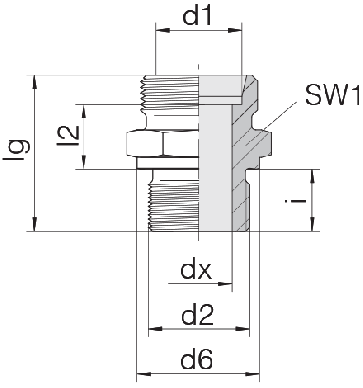 Соединение для труб штуцерное прямое коническое 24-SDS-S10-M16B