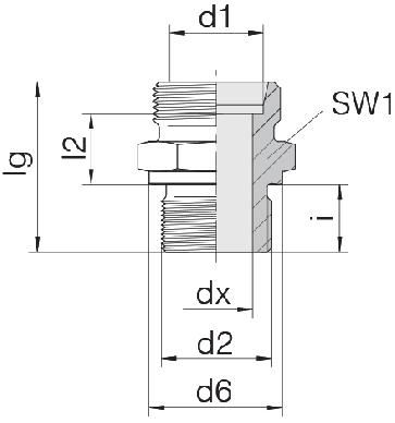 Соединение для труб штуцерное прямое коническое 24-SDS-S14-G3/8B