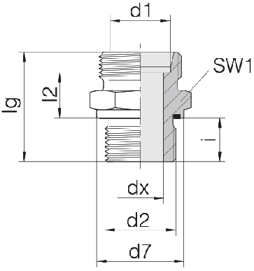 Соединение для труб штуцерное прямое коническое 24-SDS-L22-M33E